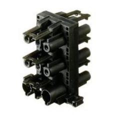Verdeelblok 3-polig 1xIN 5xUIT zwart